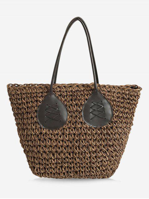 best Contrasting Color Casual Holiday Straw Bohemian Tote Bag - BROWN  Mobile