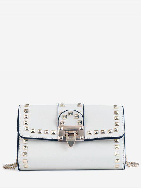 hot Studs Metallic Chain Chic Flap Crossbody Bag - WHITE  Mobile