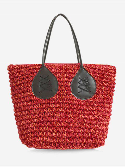 outfit Contrasting Color Casual Holiday Straw Bohemian Tote Bag - RED  Mobile