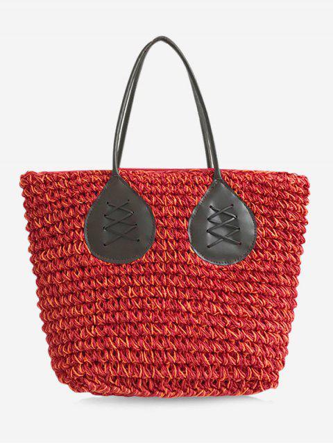 Sac Fourre-Tout en Paille Décontracté de Couleurs Contrastantes Style Bohémien pour Vacances - Rouge  Mobile