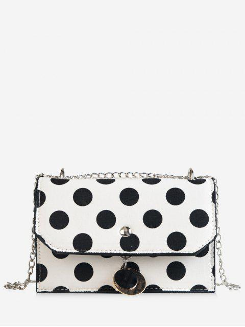 trendy Flapped Metallic Pendant Polka Dot Color Block Crossbody Bag - WHITE  Mobile
