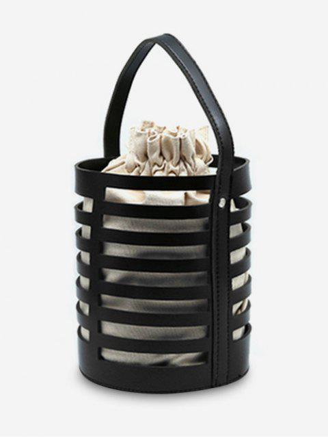 shops Hollow Out Casual Bucket Handbag with Strap - BLACK  Mobile