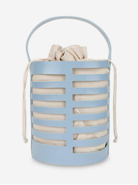 trendy Hollow Out Casual Bucket Handbag with Strap - BLUE  Mobile