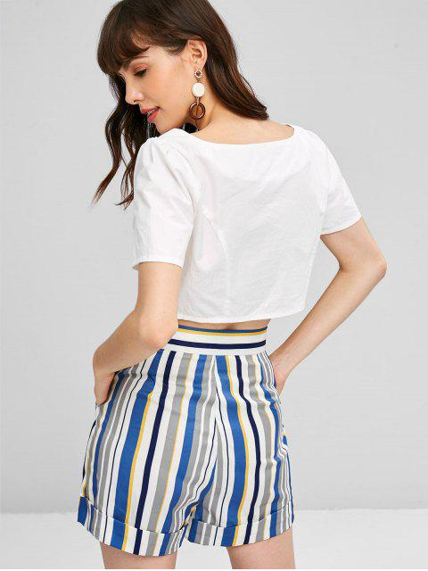 buy Button Up Top and Striped Shorts Set - MULTI S Mobile