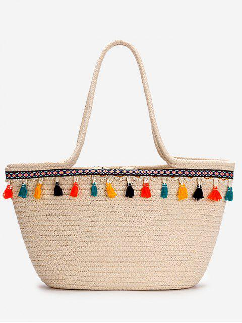 chic Casual Vacation Bohemian Tassels Straw Tote Bag - BEIGE  Mobile