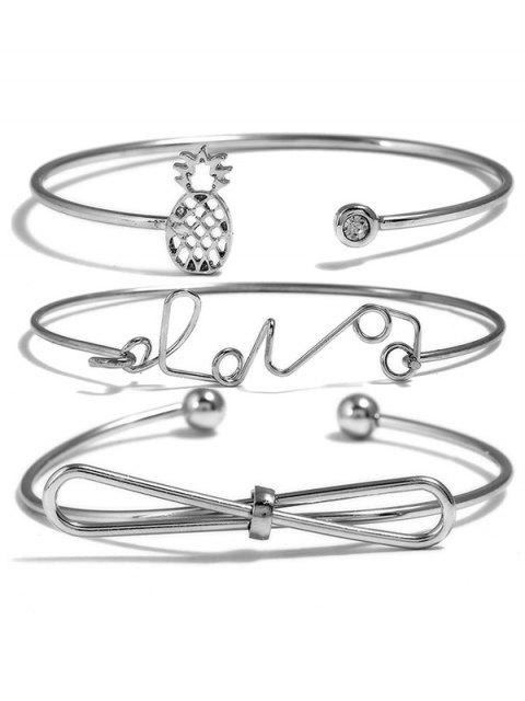 ladies Hollow Pineapple Bowknot Love Letters Designed Bracelets Set - SILVER  Mobile