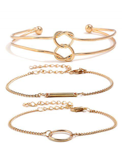 online Love Heart Knot Chain Alloy Bracelets Set - GOLD  Mobile