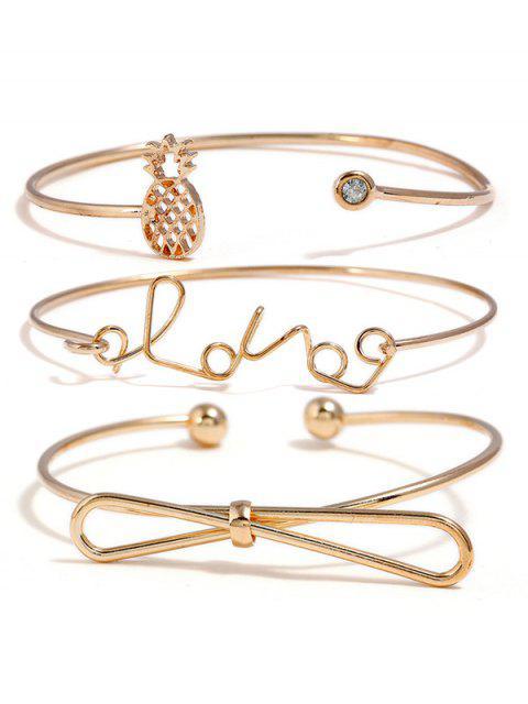 shop Hollow Pineapple Bowknot Love Letters Designed Bracelets Set - GOLD  Mobile