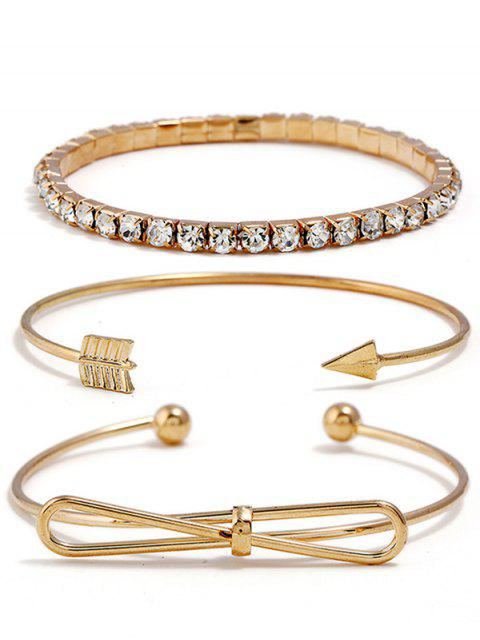 Bowknot Pfeil Design Strass Dekoration Armbänder Set - Gold  Mobile
