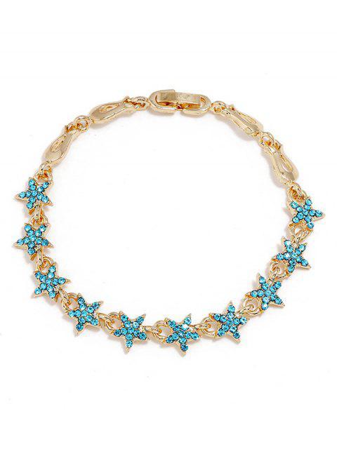 Bracelet en alliage de décoration strass étoiles - Bleu saphir  Mobile