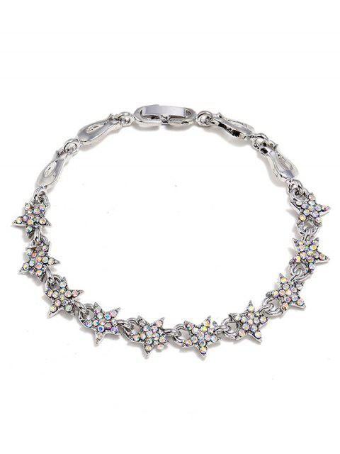 Rhinestone Star Decoration aleación pulsera - Plata  Mobile