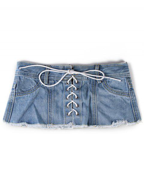Unique Denim Shorts Cintura ancha Cinturón - Azul Claro  Mobile