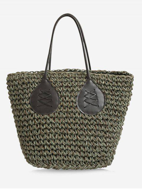 chic Contrasting Color Casual Holiday Straw Bohemian Tote Bag - GREEN  Mobile