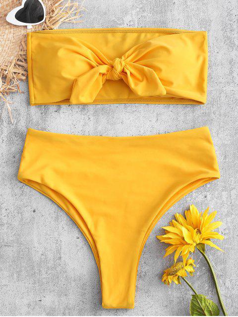 chic High Cut Convertible Bandeau Bikini Set - RUBBER DUCKY YELLOW S Mobile