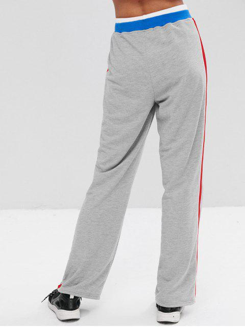 hot Athletic Palazzo Wide Leg Track Pants - LIGHT GRAY M Mobile