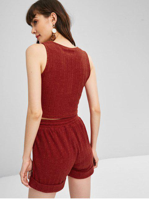 outfit Sweat Tank Top and Shorts Two Piece Set - RUST M Mobile