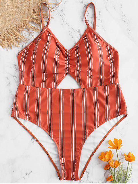 fashion Plus Size Striped Backless Swimsuit - CHESTNUT RED 2X Mobile