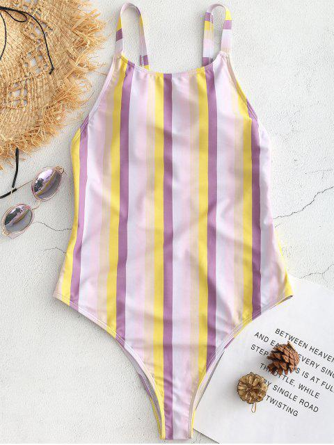 unique Cross Strap Striped High Cut Swimsuit - MULTI S Mobile