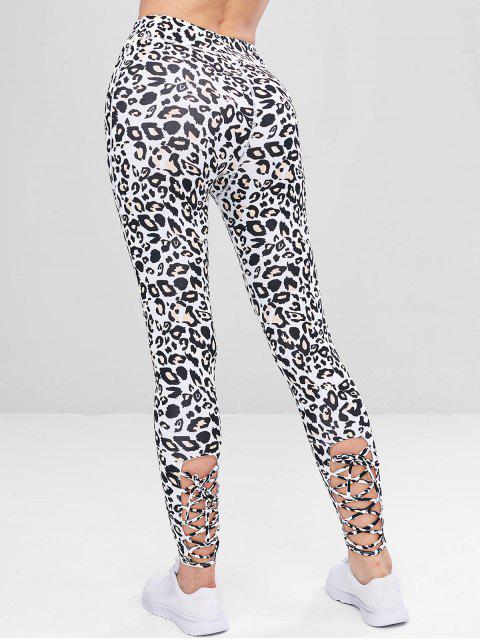 shops Lace-up Leopard Sports Leggings - LEOPARD S Mobile