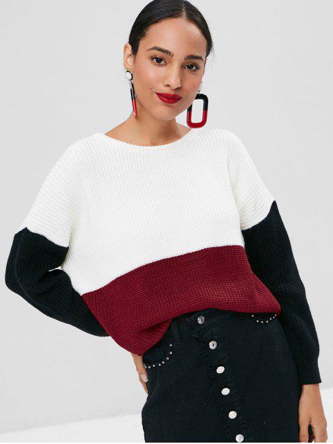 affordable Chunky Color Block Oversized Sweater - MULTI L Mobile
