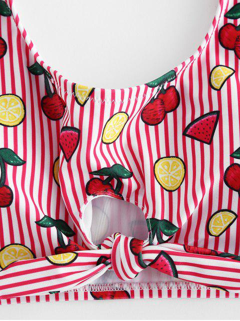 hot Lemon Cherry Striped Knot Bikini - LAVA RED S Mobile