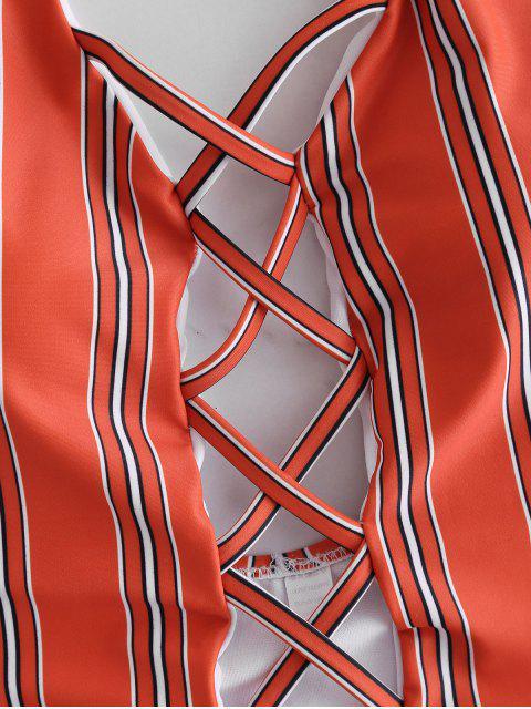 Traje de baño de rayas de corte alto de Criss Cross - Castaño Rojo M Mobile