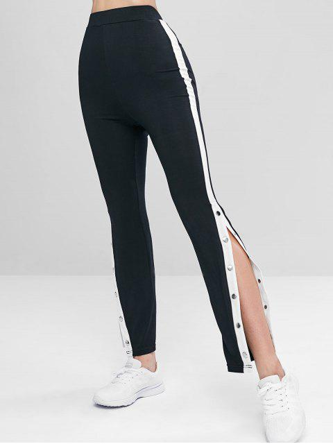 Knopf Hohe Taille Leggings - Schwarz S Mobile