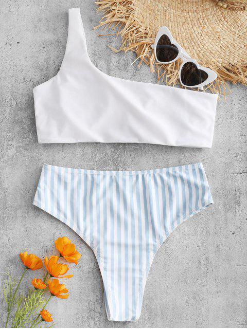 Eine Schulter Gestreiftes Hohes Bein Bikini Set - Weiß L Mobile