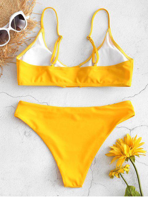 chic Ladder Straps Cutout Bikini Set - RUBBER DUCKY YELLOW L Mobile