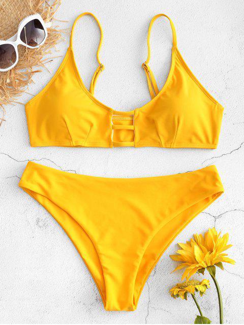 Trapez Riemchen Ausgeschnittenes Bikini Set - Niedliches Gummi Gelb S Mobile