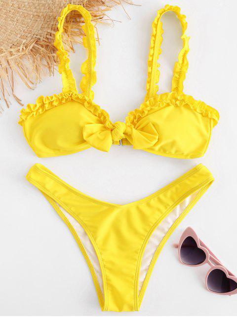 Frilled Trim Vorderknoten Bikini - Gelb S Mobile