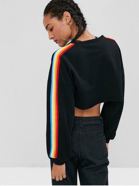 shop Rainbow Stripe High Low Cropped Sweatshirt - BLACK S Mobile