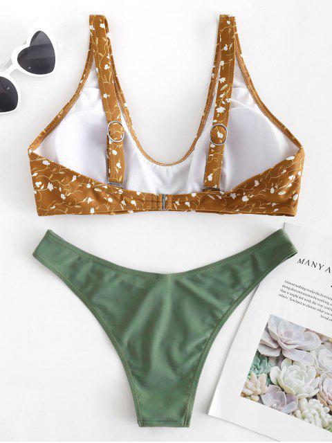 Bikini Contrasté Motif Floral - Brun Légère S Mobile