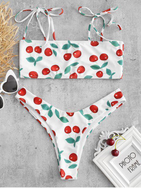 Ensemble de Bikini Soutien-Gorge Cerise à Épaule Nouée - Blanc S Mobile