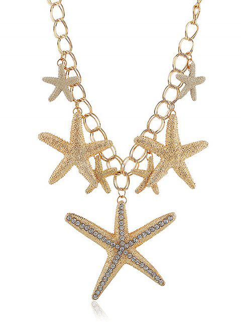 women's Rhinestone Starfishes Decoration Pendant Chain Necklace - GOLD  Mobile