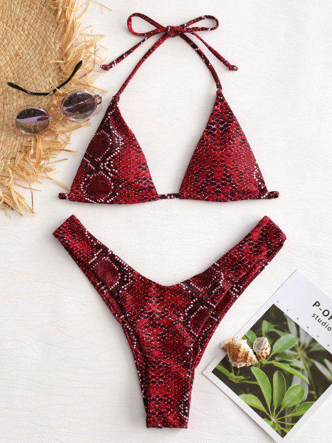 ZAFUL Bikini à Jambes Haute avec Col Halter et Imprimé de Peau de Serpent - Rouge Vineux L Mobile