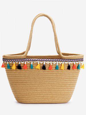 Lässige Urlaub Bohemian Quasten Stroh Tasche