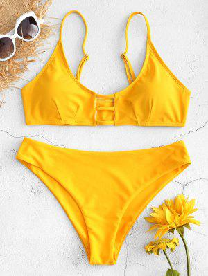 Ladder Straps Cutout Bikini Set - Rubber Ducky Yellow S
