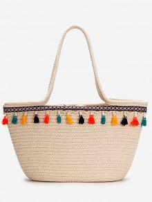 عارضة عطلة البوهيمي شرابات سترو حمل حقيبة - اللون البيج