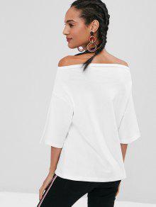 Estampada Hombro Del Fuera Blanco Camiseta M H46Pzq4w