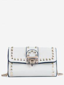 حقيبة كروس مزينة بحلقات معدنية - أبيض