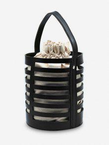 حقيبة يد جوفاء من عارضة دلو مع حزام - أسود