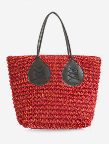 حقيبة حمل لون بني كاجوال سترابي سترو بوهيمية - أحمر