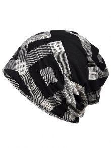 فريد هندسي مطبوعة قبعة صغيرة قبعة - أسود