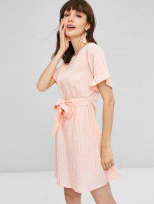 Vestido Volantes Rosa Con L Rayas De Anudados Chicle r6UrRZ