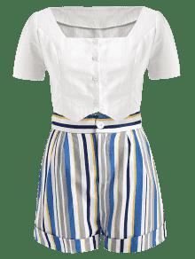 Rayas M Botones Conjunto Arriba Multicolor Y De Pantalones Con Cortos 1nqTg7w