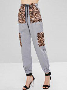 Leopard Patched High Waist Pants - رمادي فاتح M