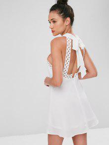 Ganchillo Vestido Punto Anudado De Mini Blanco S De 1IqZwd