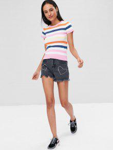 De Rayas Multicolor Con Punto Camiseta Odq0q
