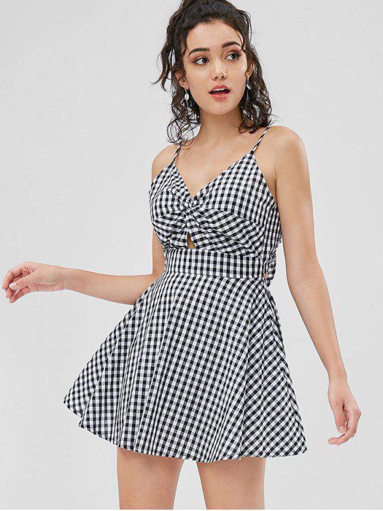 womens Gingham Twist Mini Dress - BLACK M